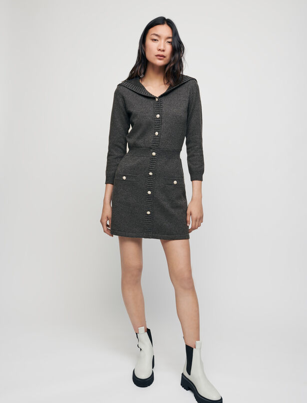 Maje Wool and cotton dress with sailor collar