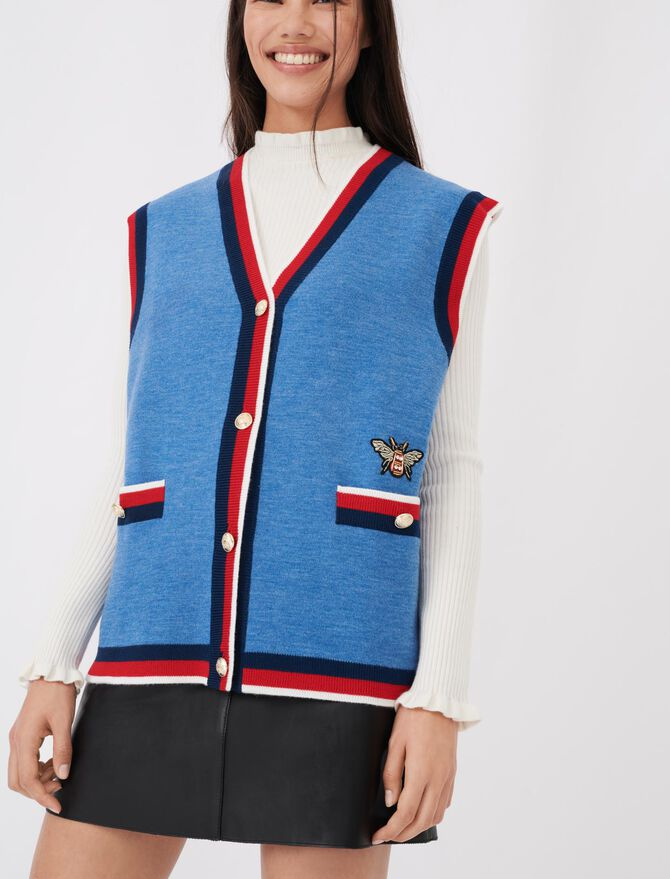 Sleeveless college cardigan - Sweaters - MAJE