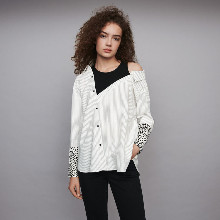 Striped layered top : Tops & T-Shirts color White / Black