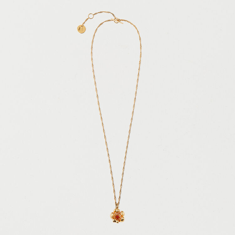 Red flower necklace : Shoes & Accessories color GOLD