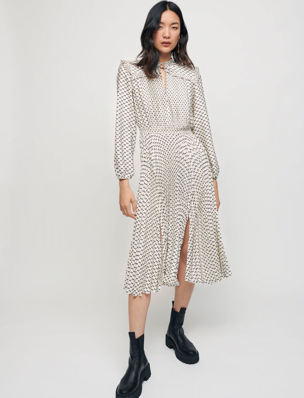 Maje Satin bow print pleated dress