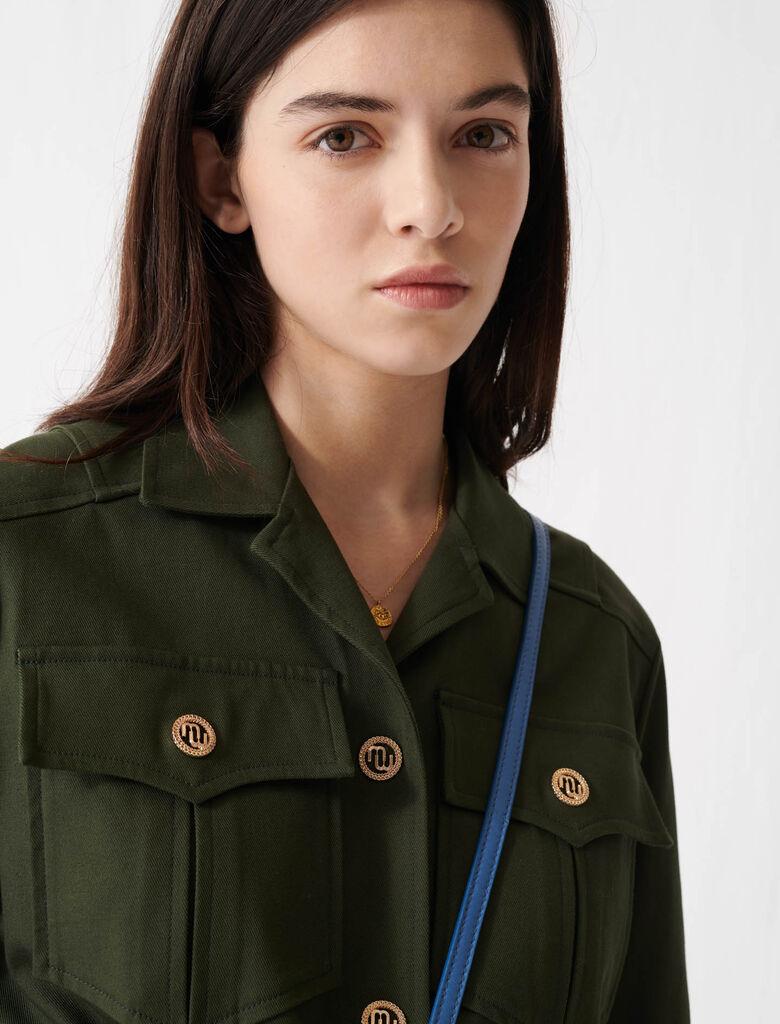 Military-style belted coat : Coats & Jackets color Dark Khaki
