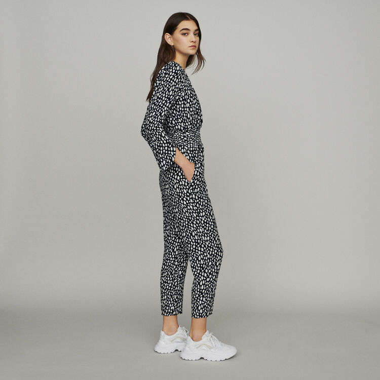 Printed jumpsuit smocked at waist : Jumpsuits & Rompers color Print