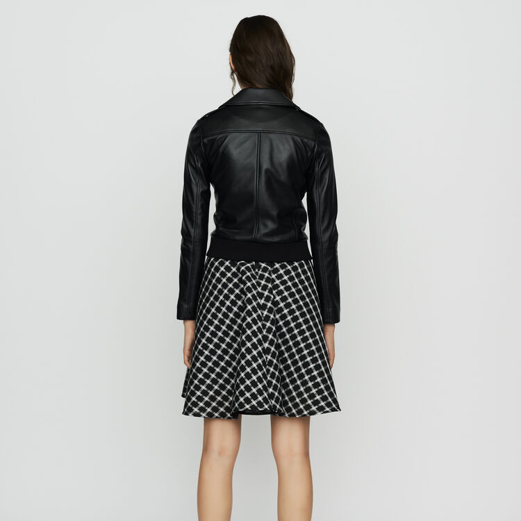 Leather jacket with ribbed detail : Coats & Jackets color BLACK