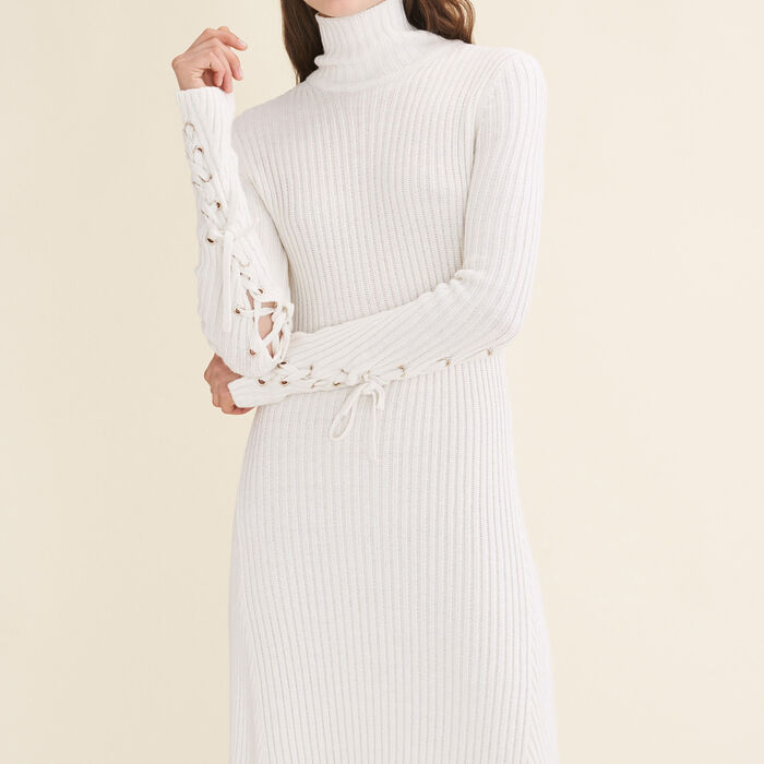 Long tube-knit dress : Dresses color Ecru