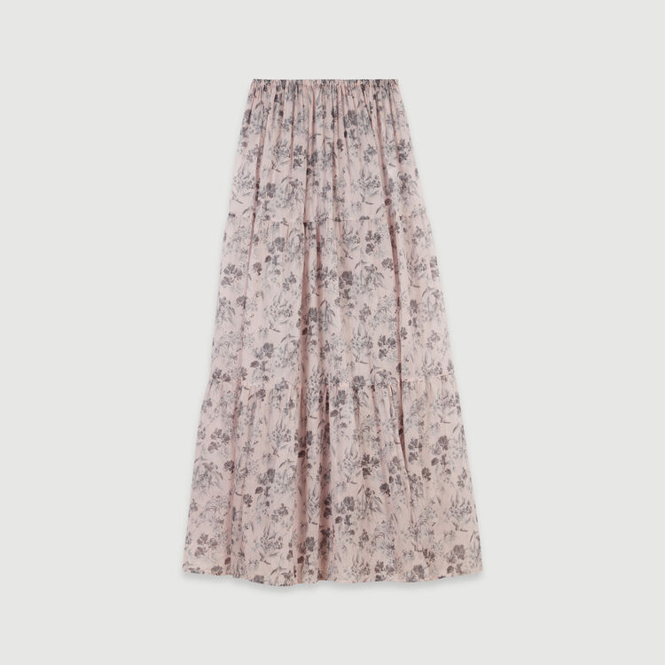 Long floral-print cotton voile skirt : Skirts & Shorts color Purple