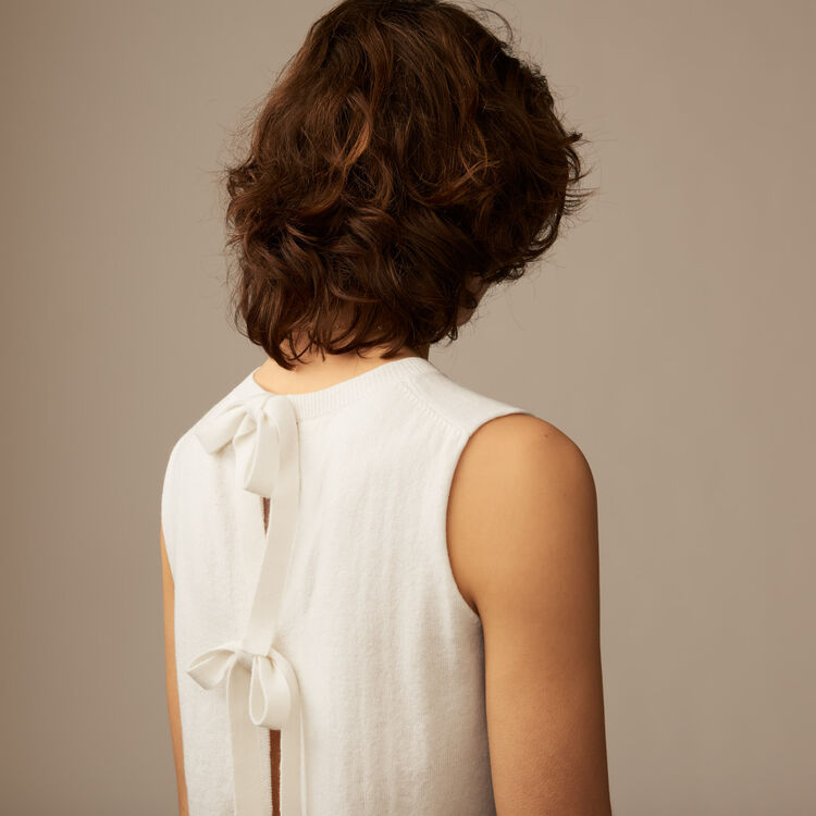Sleeveless bow back sweater : Sweaters color Ecru