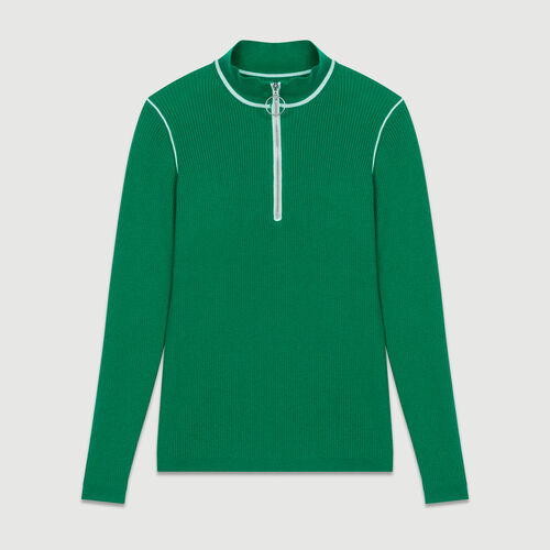 Trucker-collared sweater in fine knit : Sweaters color Green