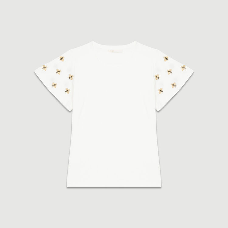 T-shirt with embroidered bees : Tops & Shirts color Ecru