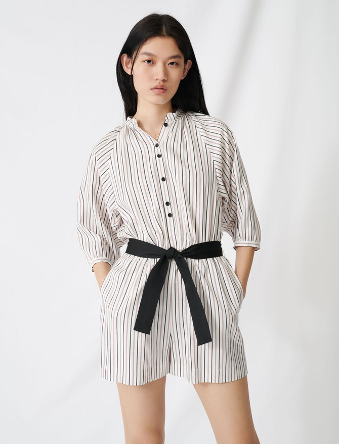 Belted pinstriped romper - Pants & Jeans - MAJE