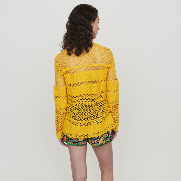 Oversized crochet sweater : Sweaters color Yellow