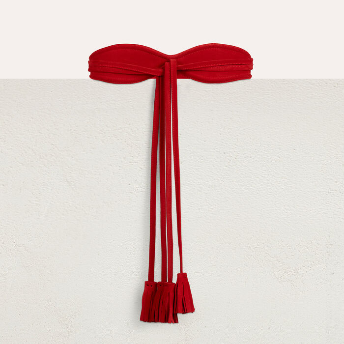 Wide suede belt : Belts color Red