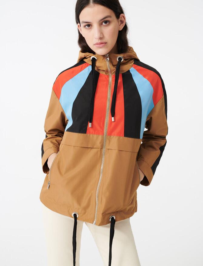 Multicolored hooded windbreaker - Coats & Jackets - MAJE