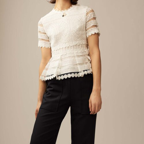 Contoured lace top : Tops & T-Shirts color ECRU