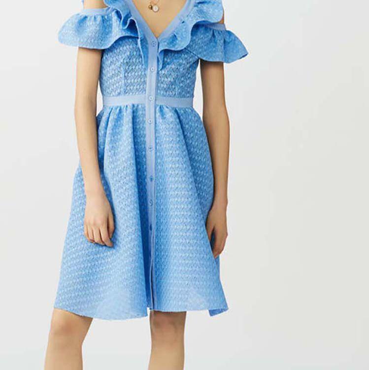 Sleeveless basketweave dress : Dresses color Blue