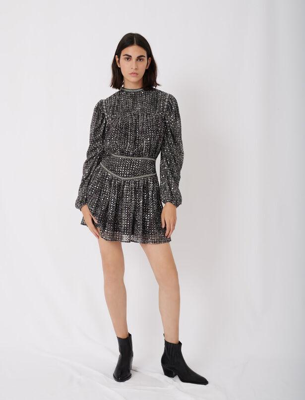 마쥬 시퀸 미니 원피스 (로제, 김사랑 착용) MAJE Short sequin dress,Silver
