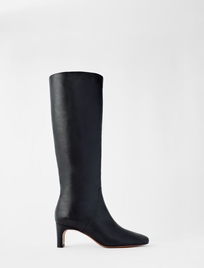 Leather mid heel boots - Boots - MAJE