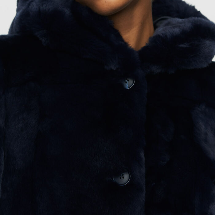 Cropped hooded fur coat : Coats & Jackets color Night
