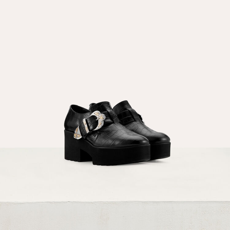 Leather loafers with buckle : Shoes color Black 210