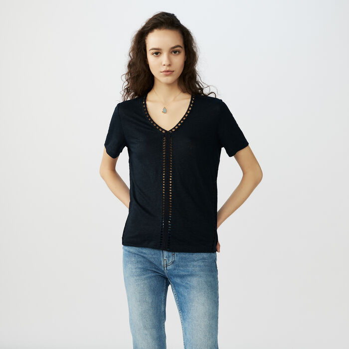 Linen t-shirt with perforated details : Tops & Shirts color Navy