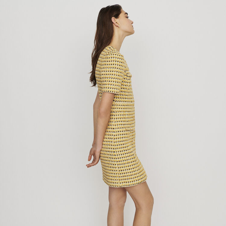 Short dress in tweed and lurex : New in: Spring Collection color Yellow