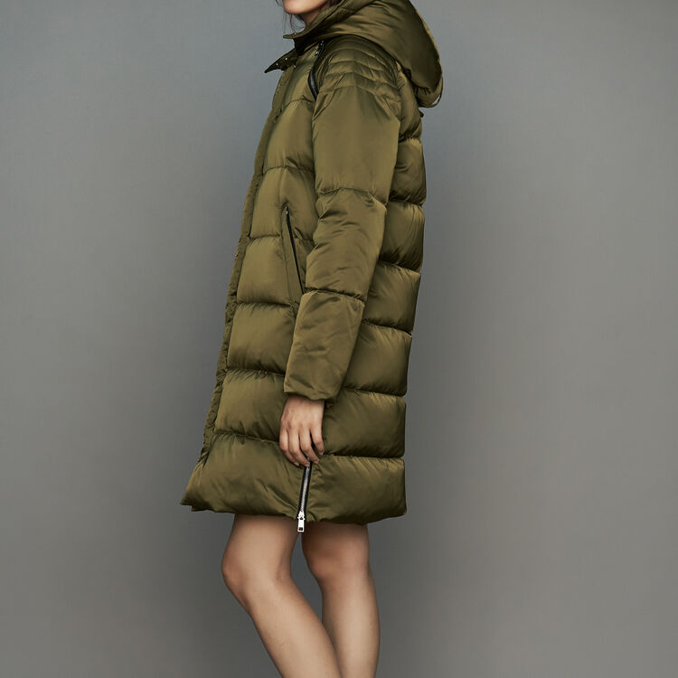 Long down jacket with hood : Coats & Jackets color Black 210