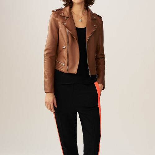 Leather jacket : Coats & Jackets color Camel