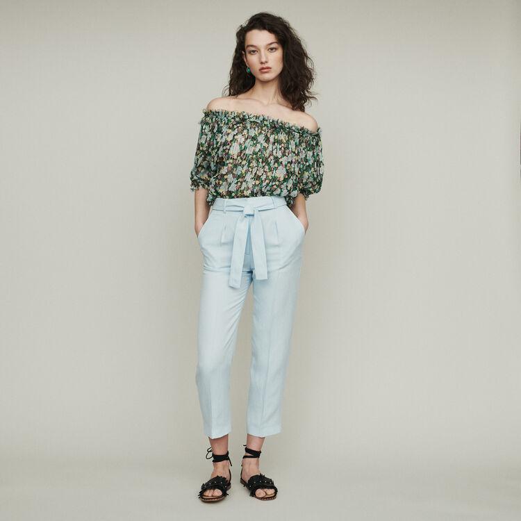 Pleated pants : Pants & Jeans color Blue Sky