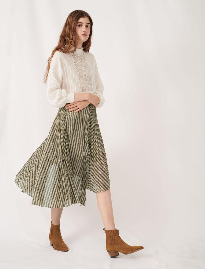 Bicolor lurex plissée midi skirt - Skirts & Shorts - MAJE