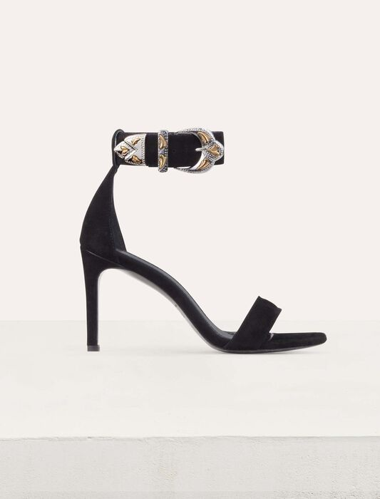 Suede heeled sandals : New Collection color Black 210