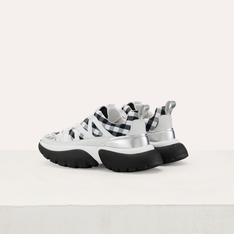 W20 sneakers in leather and gingham : Shoes color Black 210