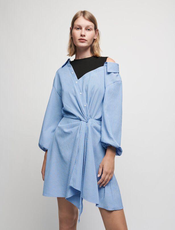 Maje Trompe-l'oeil striped shirt dress