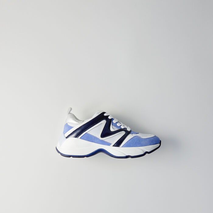 W22 mixed material sneakers : Shoes color Blue