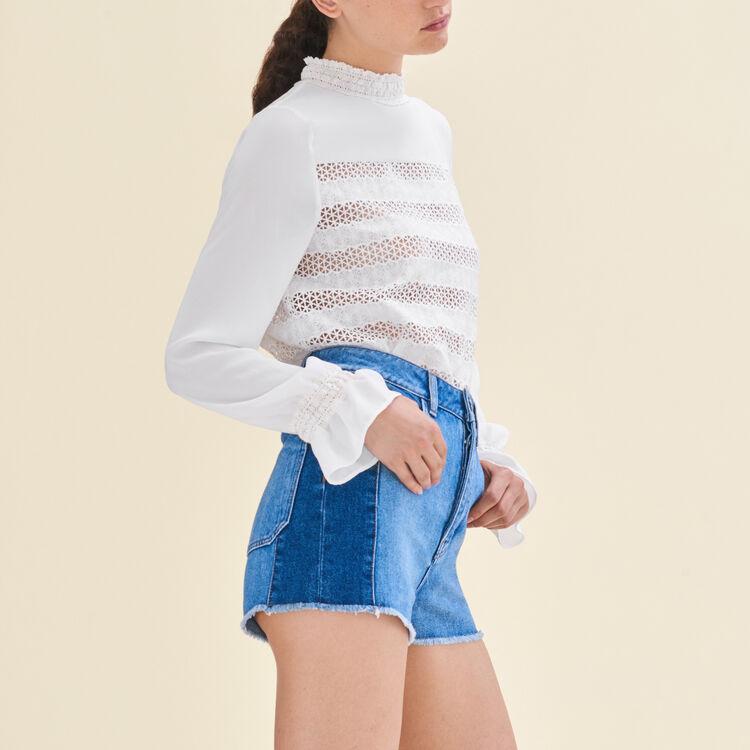 Patchwork-style denim shorts : Skirts & Shorts color Blue