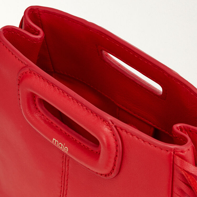 M Mini-bag with leather fringes : Spring Collection color Red