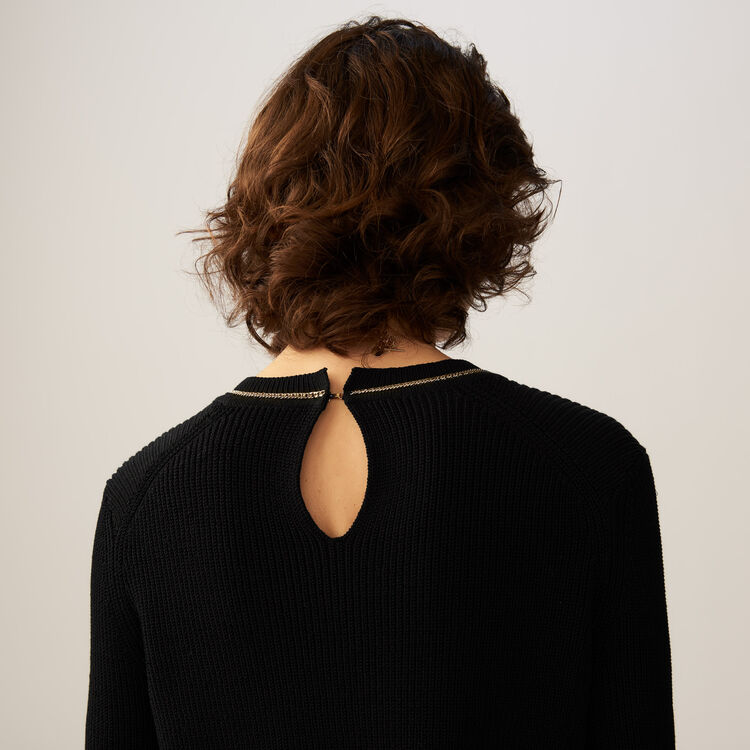 Fine-knit cotton blend sweater : Sweaters color Black 210