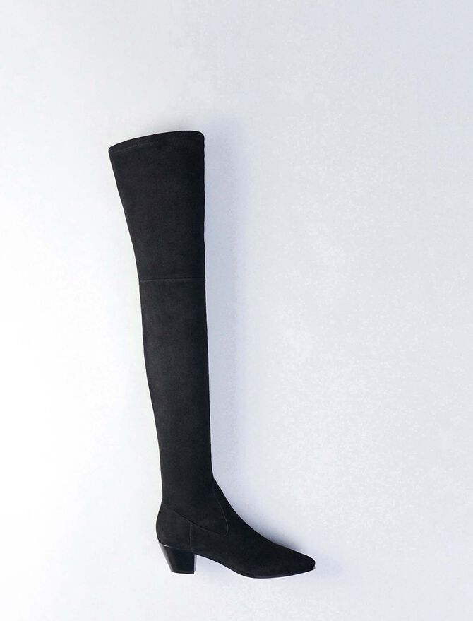 Stretch velvet goat leather thigh boots - Shoes - MAJE