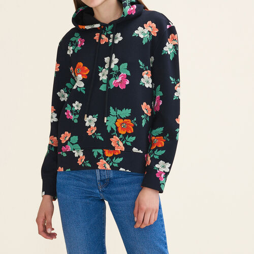 Printed hooded sweatshirt - Sweaters - MAJE