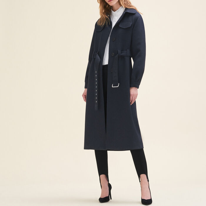 Long wool coat : Coats & Jackets color Night