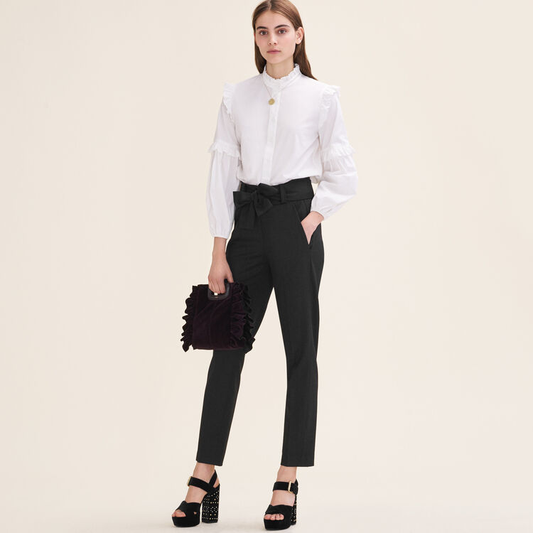 Low-slung belted pants : Pants & Jeans color Black