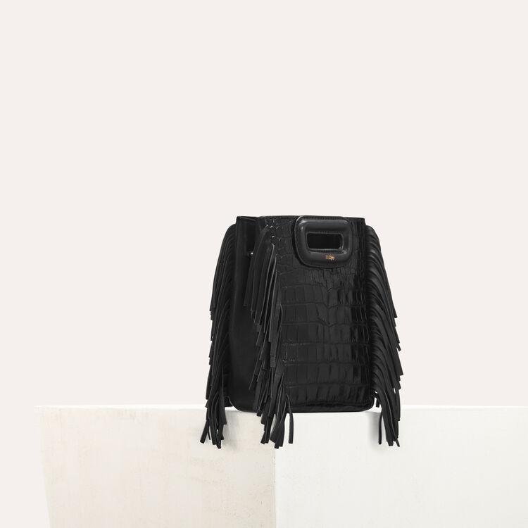 """Mini """"M"""" bag in crocodile with chain : M Mini color Black 210"""