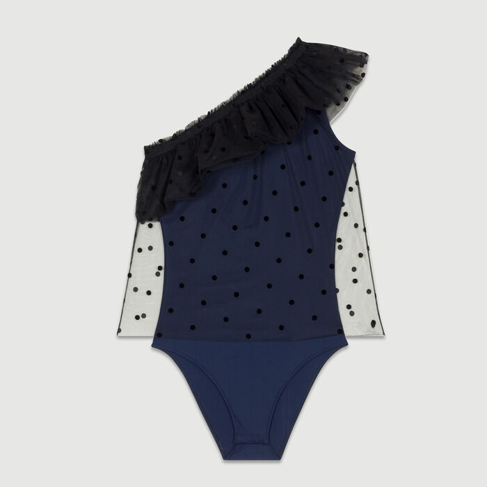 One-shoulder ruffle dot top : Swimsuits color Navy