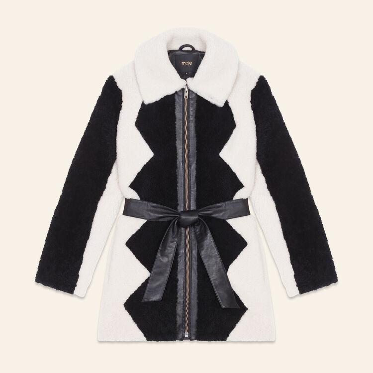 Two-tone sheepskin coat : Coats & Jackets color Two-Tone