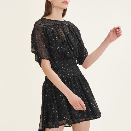 Flocked dress : Dresses color Black 210