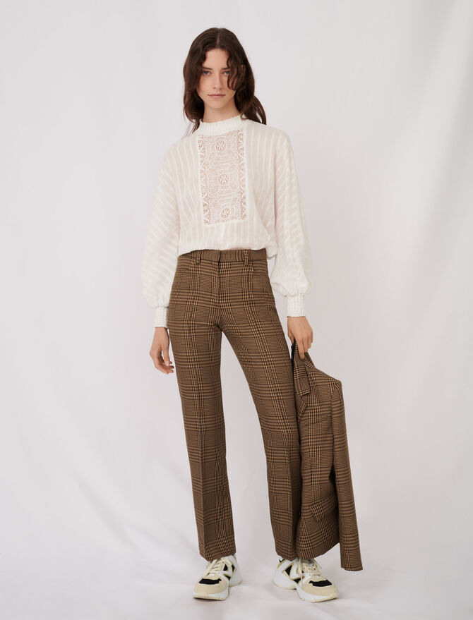 Straight cut checked trousers - Pants & Jeans - MAJE