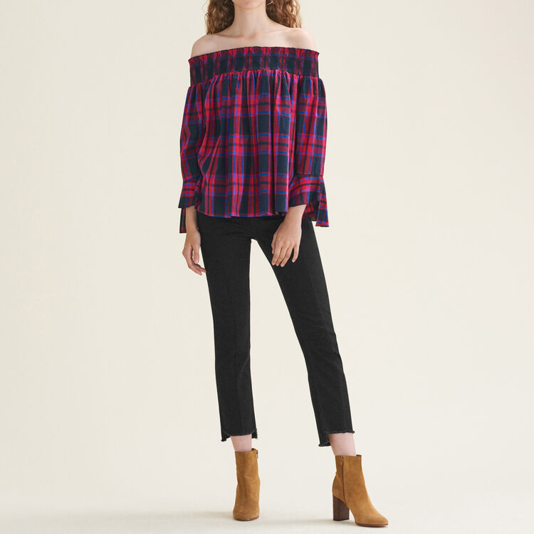 Checked off-the-shoulder top : Tops & Shirts color Jacquard