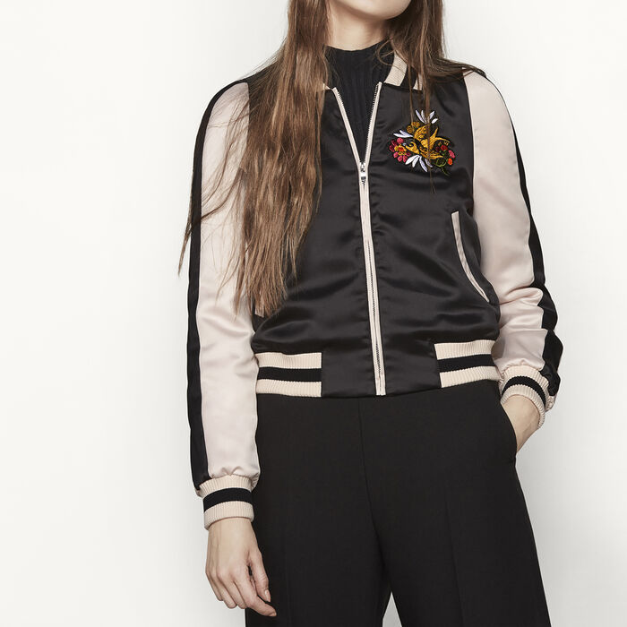 Varsity-style two-tone satin jacket : Coats & Jackets color Black 210