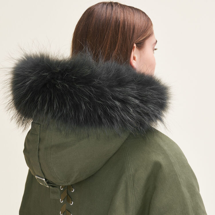 Parka with fur hood : Coats & Jackets color Khaki