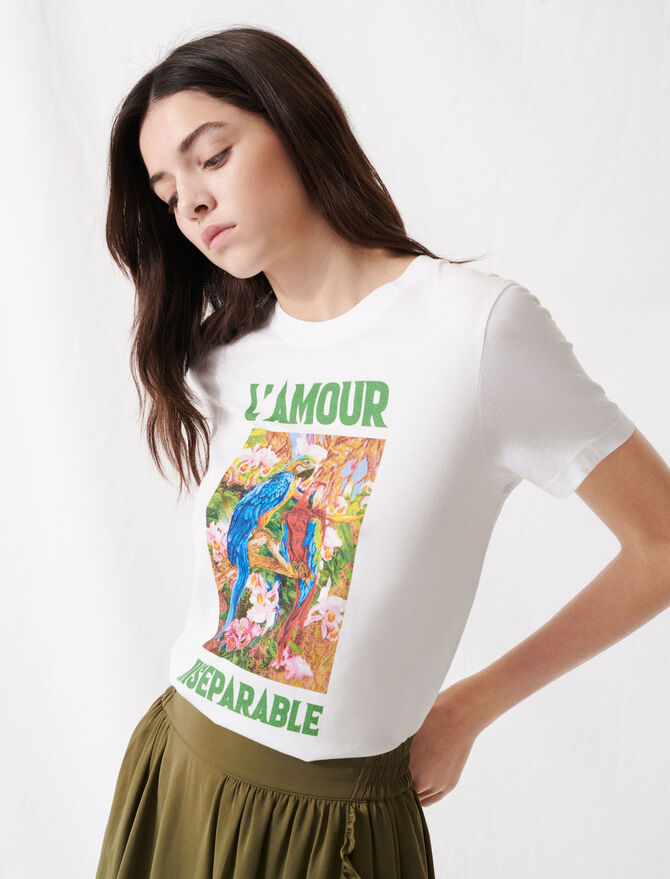 White screen-printed T-Shirt - T-Shirts - MAJE