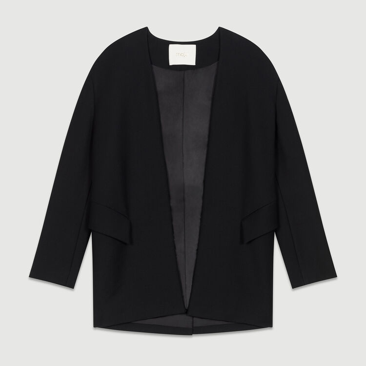 Collarless cotton blend dress jacket : Coats & Jackets color Black 210